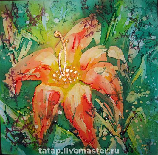 Картины цветов ручной работы. Ярмарка Мастеров - ручная работа. Купить Лилия. Handmade. Цветок, лилия, коралловый, шёлк