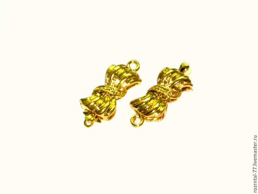 Замок для украшений Бант (пряжка) на 1 нить 22,5х10х5 мм .Цвет золото.