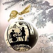 """Подарки к праздникам ручной работы. Ярмарка Мастеров - ручная работа Елочный шар """" Волшебные строки """". Handmade."""
