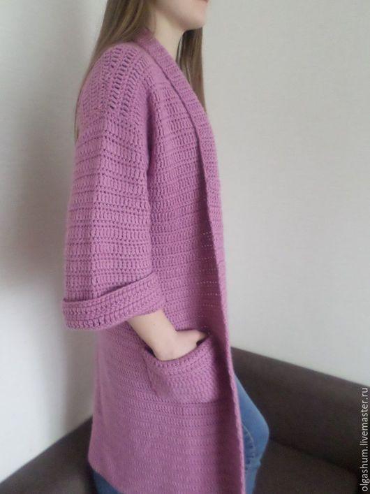 Верхняя одежда ручной работы. Ярмарка Мастеров - ручная работа. Купить Кардиган вязанный крючком розовый шерстяной. Handmade. Розовый