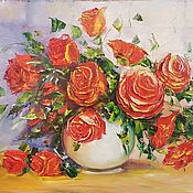 Картины и панно ручной работы. Ярмарка Мастеров - ручная работа Картина маслом Красные розы.. Handmade.