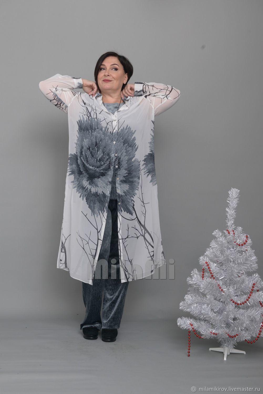 Платье-рубашка шифон серый с цветами Арт. 3930, Платья, Киров,  Фото №1