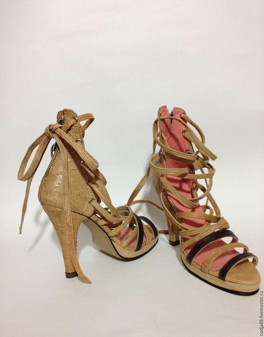 Обувь ручной работы. Ярмарка Мастеров - ручная работа. Купить Босоножки Марсель. Handmade. Бежевый, стильная обувь