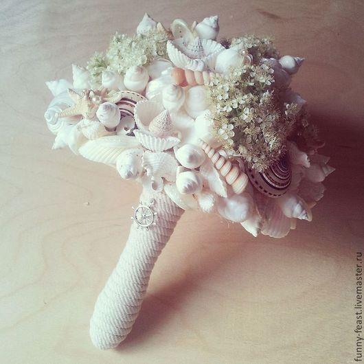 Свадебные цветы ручной работы. Ярмарка Мастеров - ручная работа. Купить Свадебный букет из ракушек. Handmade. Белый, цветы на свадьбу