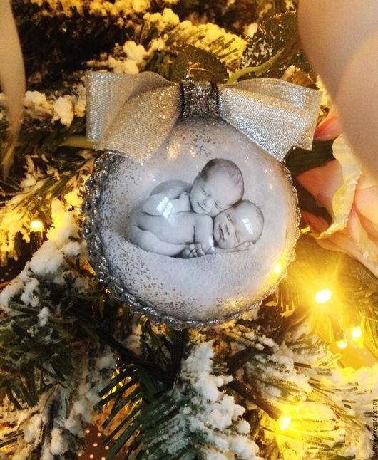 Новый год 2017 ручной работы. Ярмарка Мастеров - ручная работа. Купить Елочный шар с фото. Handmade. Розовый, новогодний подарок