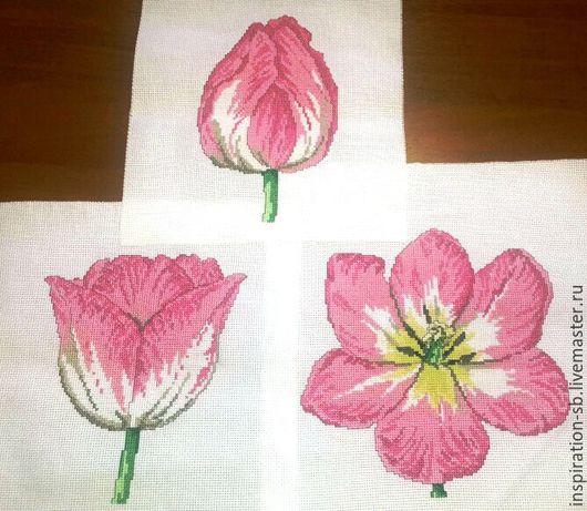 """Картины цветов ручной работы. Ярмарка Мастеров - ручная работа. Купить Триптих """"Рождение тюльпана"""". Handmade. Бледно-розовый, нежность"""