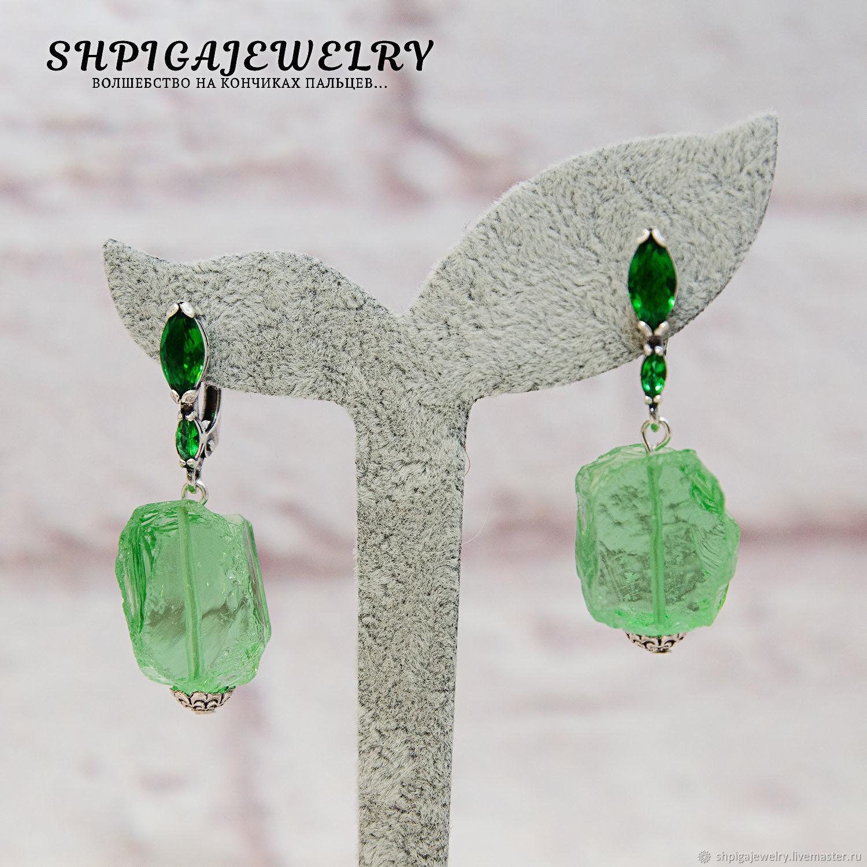 Silver plated earrings with a genuine Aqua quartz `Nara`