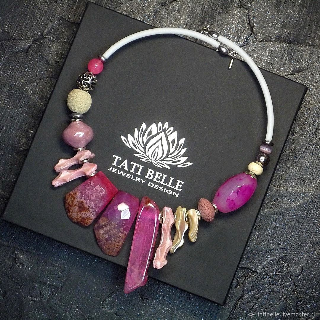 Necklace made of natural stones ' Gentle cyclamen', Necklace, Moscow,  Фото №1