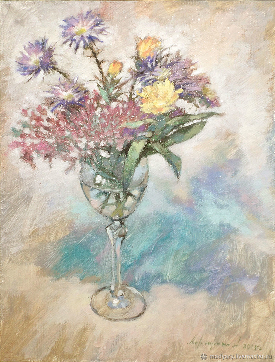 Still life on canvas Floral cocktail (turquoise lilac white), Pictures, Smolensk,  Фото №1