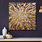Картины и панно handmade. Livemaster - original item Abstract acrylic painting sun Energy 40h40 cm. Handmade.