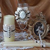 """Аксессуары ручной работы. Ярмарка Мастеров - ручная работа Свадебная коллекция """" Винтаж""""бокалы свадебные и свечи стимпанк,рэтро. Handmade."""
