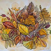 Картины и панно ручной работы. Ярмарка Мастеров - ручная работа Осенние листья в моем пруду. Handmade.