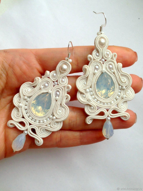 d5f889f66 Earrings handmade. Livemaster - handmade. Buy Earrings Bridal long White  magic embroidered of pearls ...