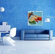 Картины и панно ручной работы. Ярмарка Мастеров - ручная работа 95. Причал Картина маслом мастихин 40 на 40 см. Handmade.