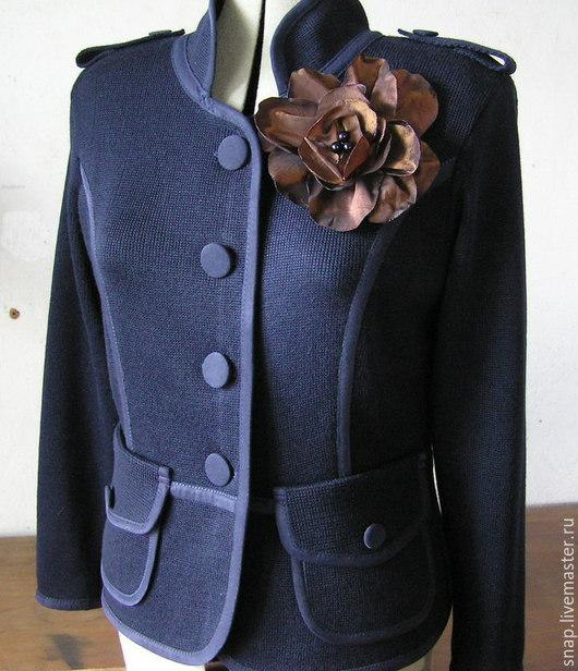 Пиджаки, жакеты ручной работы. Ярмарка Мастеров - ручная работа. Купить Жакет. Handmade. Тёмно-синий, мода2015, вязаный жакет