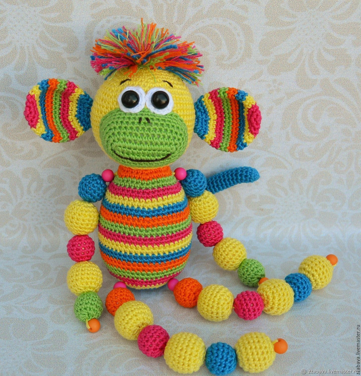 Monkey Is a toy crocheted, Teethers and rattles, Tomsk,  Фото №1