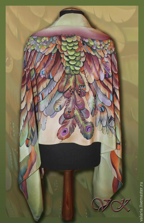"""Шали, палантины ручной работы. Ярмарка Мастеров - ручная работа. Купить Батик палантин """" Крылья"""". Handmade. Зеленый, птица"""