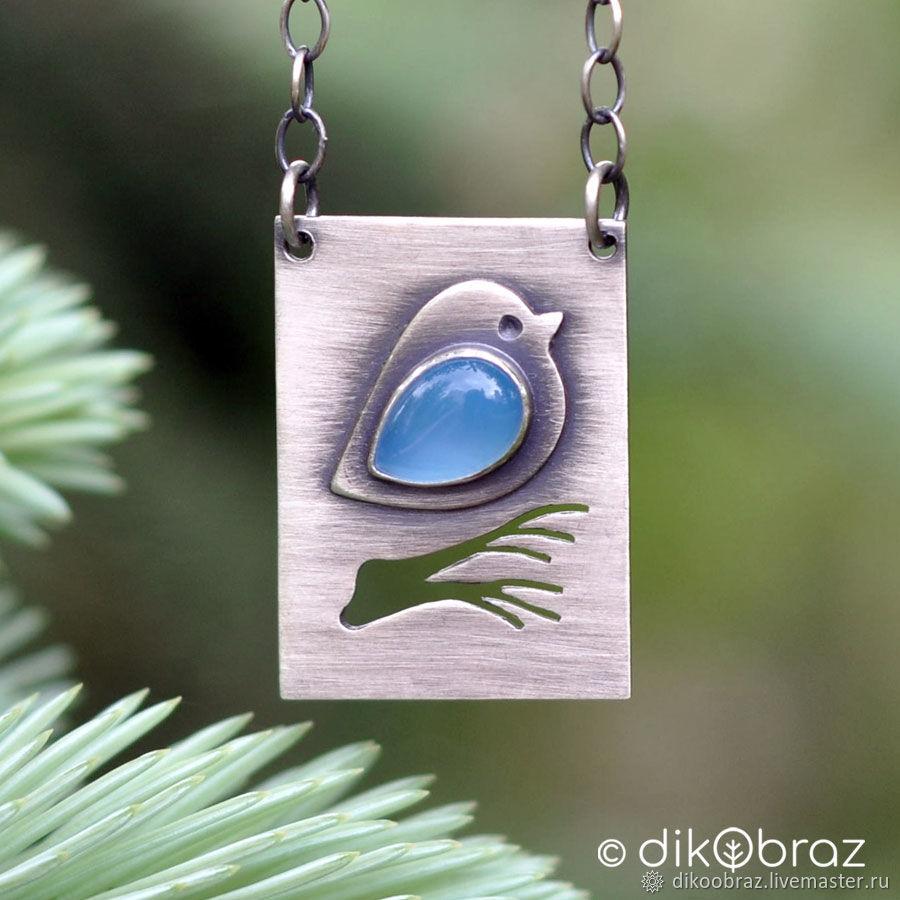 Кулон серебро Птичка на ветке, голубой халцедон, Кулон, Москва,  Фото №1