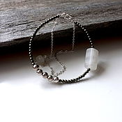 Украшения ручной работы. Ярмарка Мастеров - ручная работа Браслет из серебра, пирта, оникса, лунного камня. Handmade.