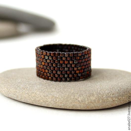 Кольца ручной работы. Ярмарка Мастеров - ручная работа. Купить Широкое кольцо ручной работы Тёмная бронза Коричневое кольцо из бисера. Handmade.