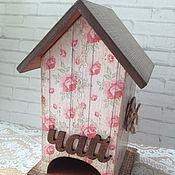Для дома и интерьера ручной работы. Ярмарка Мастеров - ручная работа чайный домик для хранения чая дерево Пуговица кантри декупаж. Handmade.