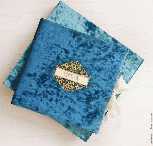 """Фотоальбомы ручной работы. Ярмарка Мастеров - ручная работа. Купить Бархатный фотоальбом """"Чарующий бирюзовый"""" с текстурой винтаж. Handmade. подарок"""