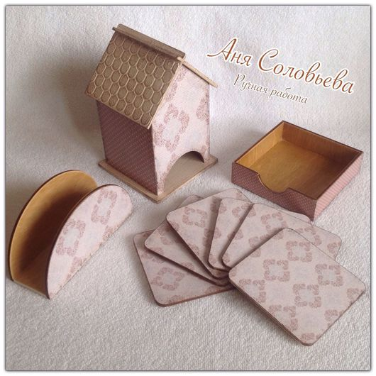 Кухня ручной работы. Ярмарка Мастеров - ручная работа. Купить Чайный набор (чайный домик, подставки  для чашек, салфетница).. Handmade.