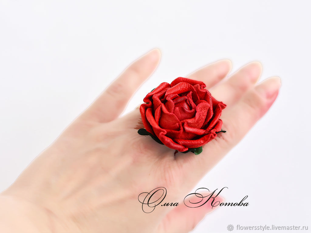 Red rose ring made of genuine leather as a gift, Rings, Kursk,  Фото №1