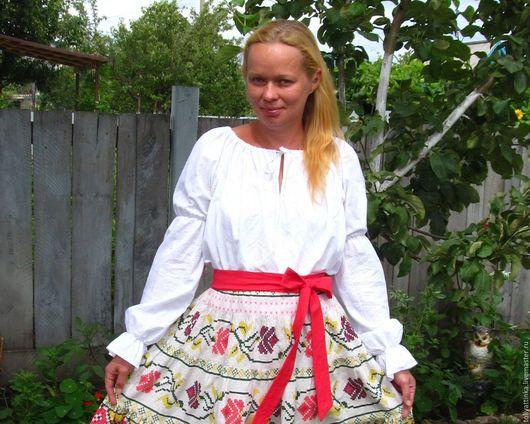 Одежда ручной работы. Ярмарка Мастеров - ручная работа. Купить Белая блуза в фольклорном стиле. Handmade. Белый, 100% хлопок