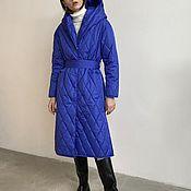 Одежда handmade. Livemaster - original item Insulated coat with a blue hood. Handmade.