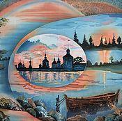 Картины и панно ручной работы. Ярмарка Мастеров - ручная работа Картина на шёлке Зачарованный Север батик. Handmade.