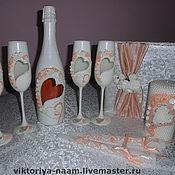 Свадебный салон ручной работы. Ярмарка Мастеров - ручная работа Свадебный набор,, Персиковый блюз,,. Handmade.