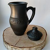 Посуда handmade. Livemaster - original item Jug with lid. Black pottery.. Handmade.