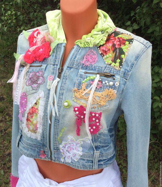 Пиджаки, жакеты ручной работы. Ярмарка Мастеров - ручная работа. Купить Куртка Джинсовая в стиле Шебби Шик, Бохо Шик.. Handmade.