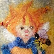 Картины и панно ручной работы. Ярмарка Мастеров - ручная работа Картина шерстью. Маленький Ангел. Пчелка. Handmade.
