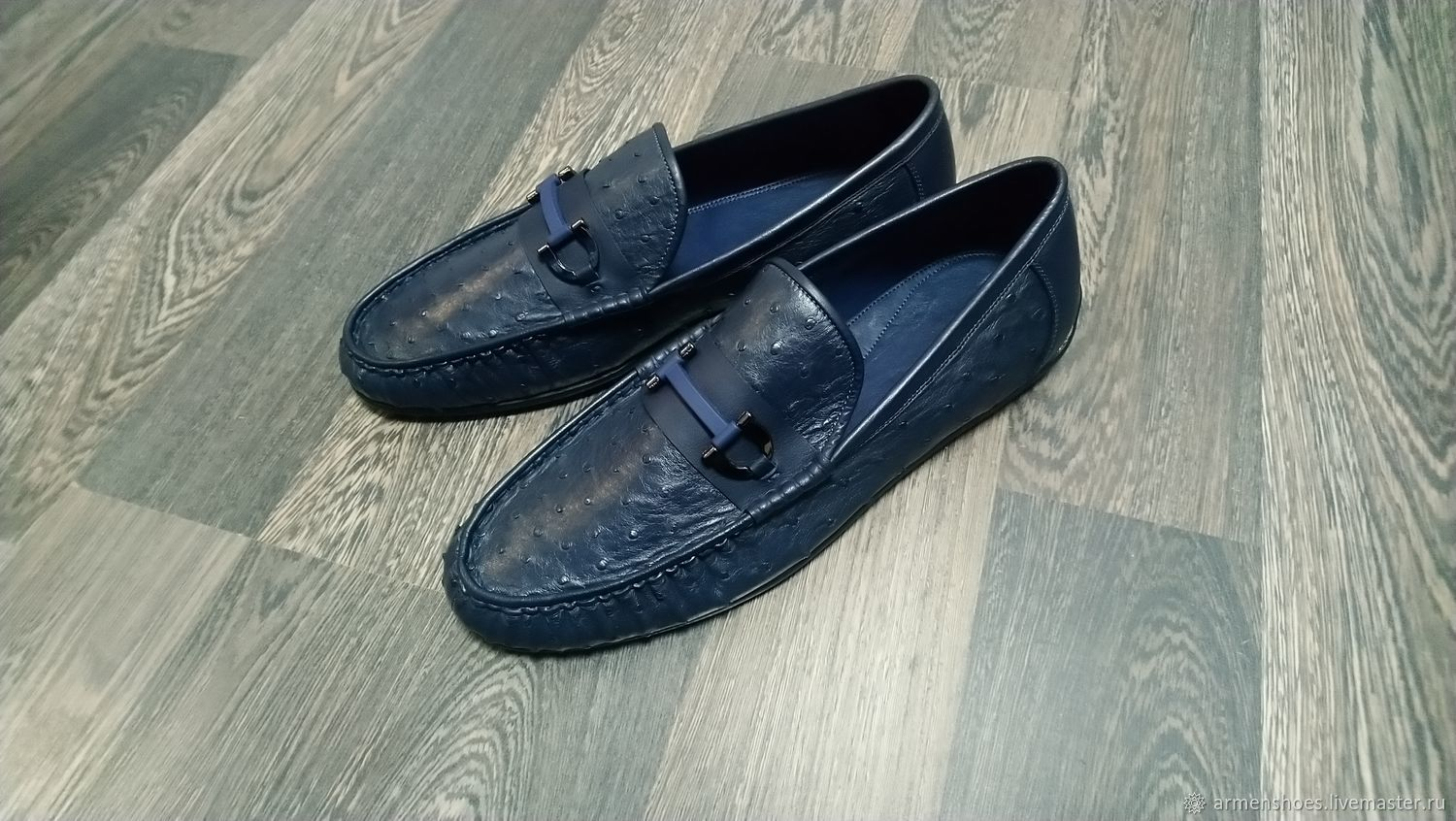 Men's moccasins, made of genuine ostrich leather, dark blue color, Moccasins, Tosno,  Фото №1
