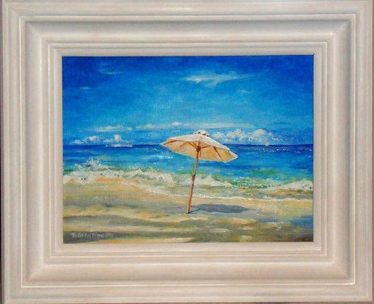 Пейзаж ручной работы. Ярмарка Мастеров - ручная работа. Купить Картина Море гриб любовь :). Handmade. Море