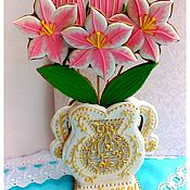Сувениры и подарки handmade. Livemaster - original item The carrot ginger Vase with lilies. Handmade.