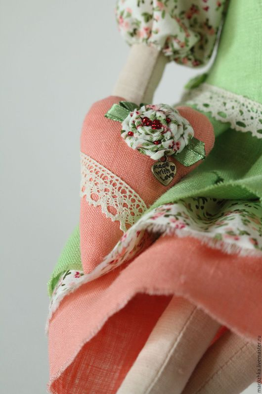 Куклы Тильды ручной работы. Ярмарка Мастеров - ручная работа. Купить, Кукла текстильная, бохо, интерьерная игрушка, розовый, лососевый, коралловый, салатовый