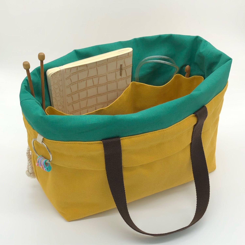 Большая проектная сумка для вязания с карманами на кулиске Project Bag, Органайзеры, Екатеринбург,  Фото №1