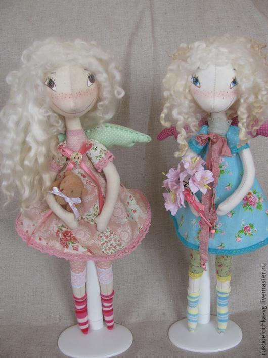 Коллекционные куклы ручной работы. Ярмарка Мастеров - ручная работа. Купить Ангелочки Люси и Майя. Handmade. Бирюзовый, кукла текстильная