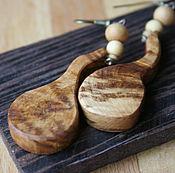 Серьги классические ручной работы. Ярмарка Мастеров - ручная работа Серьги Капли, дерево ольха, сувель. Handmade.