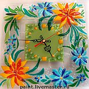 Для дома и интерьера handmade. Livemaster - original item Wall clock glass Fusing SUMMER. Glass. Handmade.