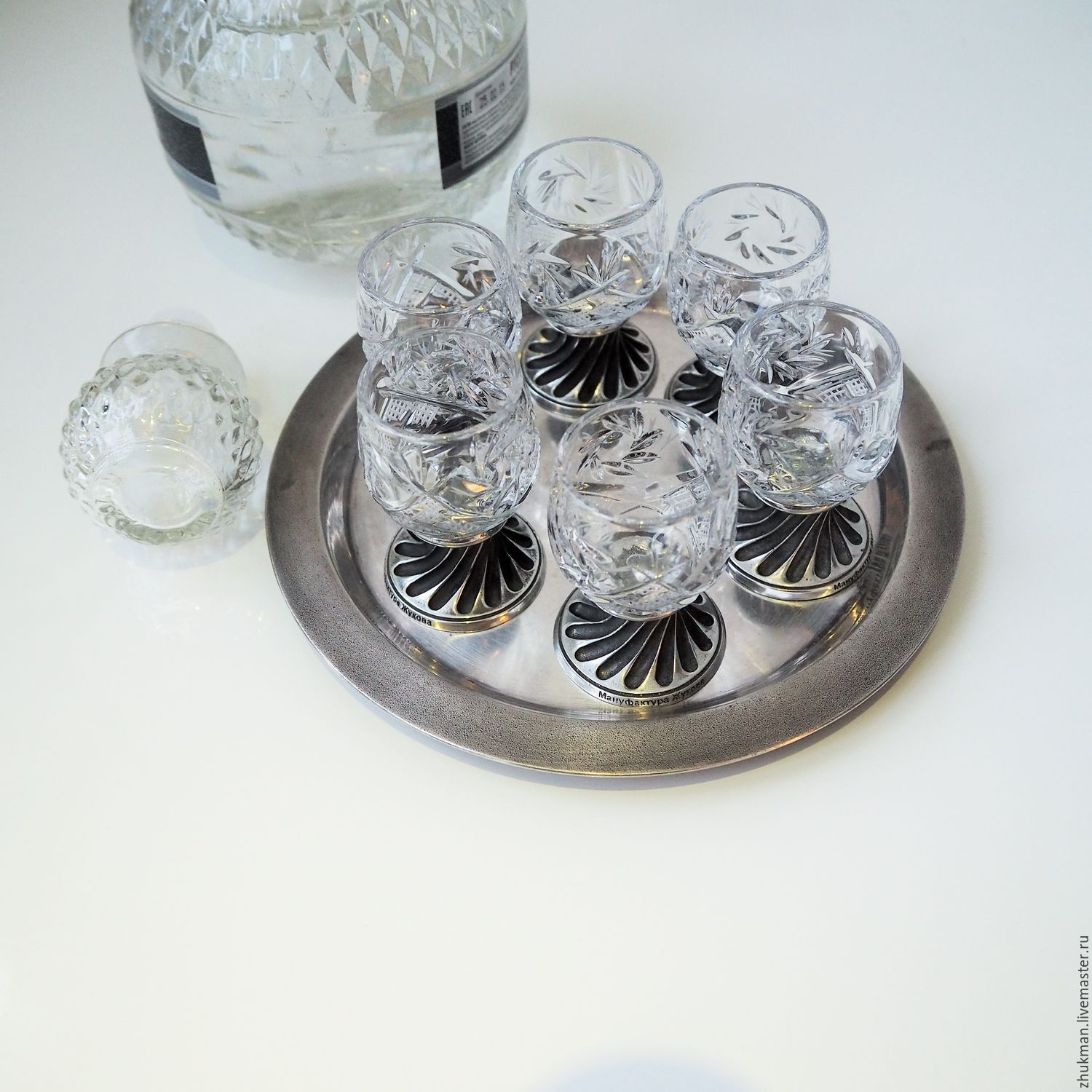 Set of crystal wine glasses 'THIMBLE' for 6 in gift box, Shot Glasses, Zhukovsky,  Фото №1