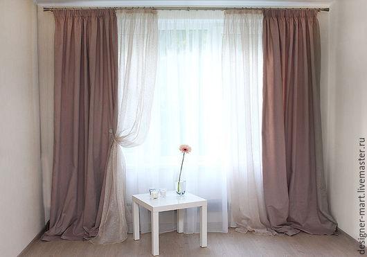 Текстиль, ковры ручной работы. Ярмарка Мастеров - ручная работа. Купить Шторы светло-коричневые и декор с люрексом. Handmade. Коричневый