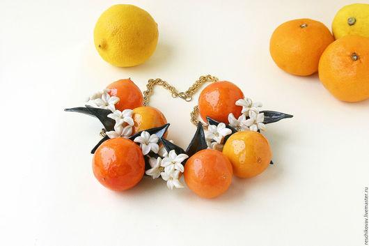 Колье, бусы ручной работы. Ярмарка Мастеров - ручная работа. Купить Колье с сочными яркими апельсинами - тренд и musthave сезона. Handmade.