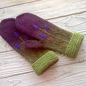 Аксессуары handmade. Livemaster - original item A copy of the work Mittens knitted, felted and mixed media Heather. Handmade.