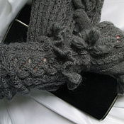Аксессуары handmade. Livemaster - original item Sleeves +gloves Smoky. wool gloves grey.. Handmade.