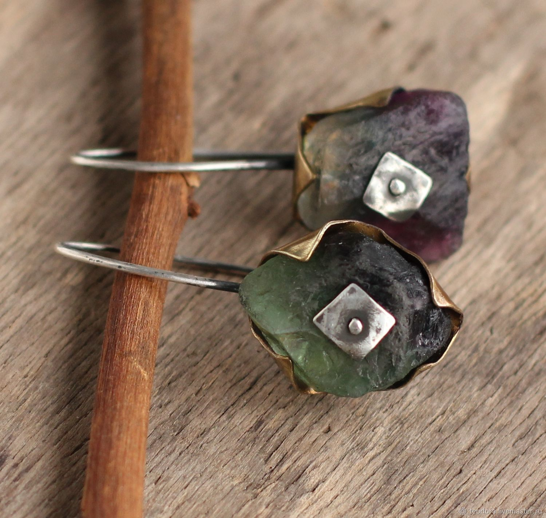 Mixed metal sterling silver raw fluorite earrings, Earrings, Kokoshkino,  Фото №1