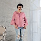 Одежда handmade. Livemaster - original item Linen blouse with lace and lacing dusty rose. Handmade.